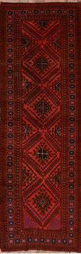 "Baluch Red Runner Hand Knotted 4'1"" X 12'4""  Area Rug 100-110143"