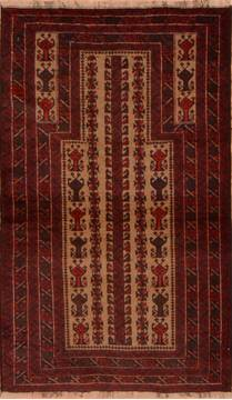 "Baluch Beige Hand Knotted 2'9"" X 4'7""  Area Rug 100-110153"