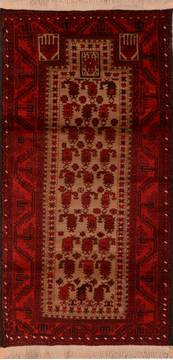 "Baluch Beige Runner Hand Knotted 3'3"" X 6'7""  Area Rug 100-110181"