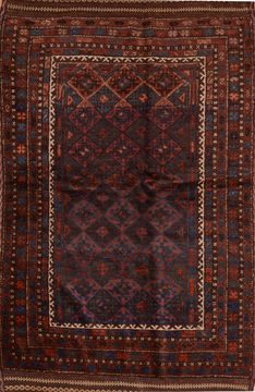 "Baluch Brown Hand Knotted 4'3"" X 8'2""  Area Rug 100-110185"