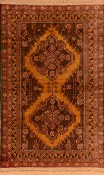 "Baluch Yellow Hand Knotted 3'5"" X 5'9""  Area Rug 100-110195"