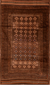 "Baluch Brown Hand Knotted 4'5"" X 7'6""  Area Rug 100-110196"