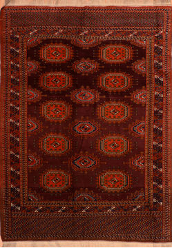 Afghan Baluch Red Rectangle 6x9 ft Wool Carpet 110198