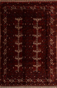"Baluch Red Hand Knotted 6'5"" X 10'2""  Area Rug 100-110199"