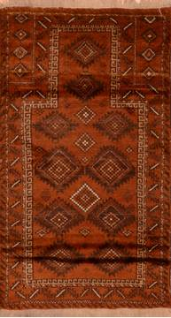 Afghan Baluch Brown Rectangle 3x5 ft Wool Carpet 110203