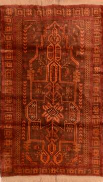 "Baluch Brown Hand Knotted 3'8"" X 6'3""  Area Rug 100-110206"