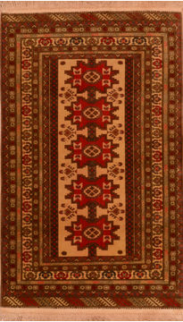 Afghan Baluch Beige Rectangle 3x5 ft Wool Carpet 110219