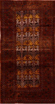 "Baluch Brown Hand Knotted 3'6"" X 6'9""  Area Rug 100-110221"