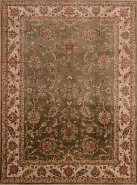 Afghan Kashan Green Rectangle 9x12 ft Wool Carpet 110243