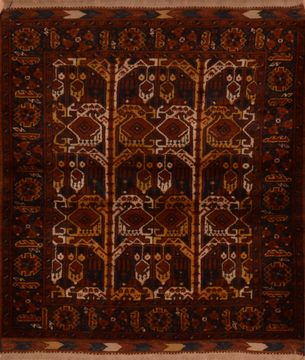 "Baluch Brown Square Hand Knotted 3'10"" X 4'3""  Area Rug 100-110247"