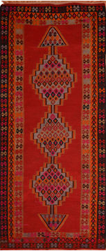 Afghan Kilim Red Runner 10 to 12 ft Wool Carpet 110278