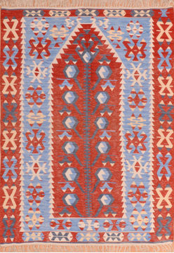 "Kilim Red Flat Woven 4'11"" X 5'9""  Area Rug 100-110283"