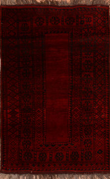"Khan Mohammadi Red Hand Knotted 3'6"" X 5'4""  Area Rug 100-110306"