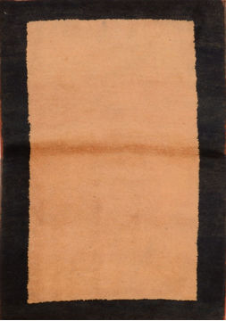 "Gabbeh Beige Hand Knotted 3'2"" X 4'11""  Area Rug 100-110335"