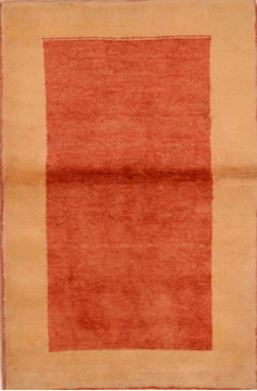 "Gabbeh Red Hand Knotted 3'1"" X 4'9""  Area Rug 100-110347"