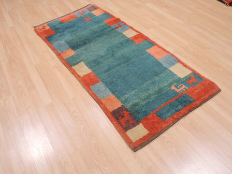 Turkish Gabbeh Blue Runner 3x5 Ft Wool Carpet 110349