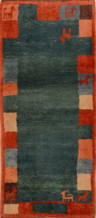 Turkish Gabbeh Blue Runner 3x5 Ft Wool Carpet 110349