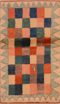 "Gabbeh Beige Hand Knotted 2'7"" X 4'4""  Area Rug 100-110353"