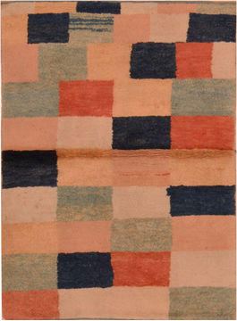 "Gabbeh Beige Hand Knotted 3'2"" X 4'5""  Area Rug 100-110354"