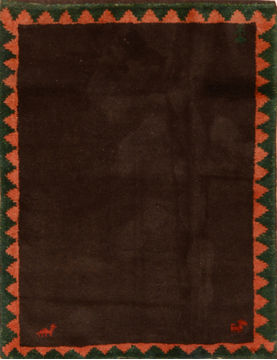 Indian Gabbeh Brown Square 4 ft and Smaller Wool Carpet 110355