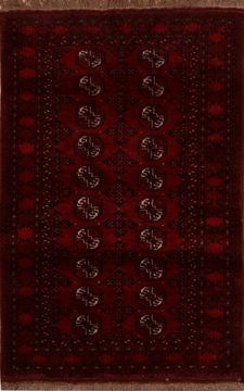 Afghan Baluch Red Rectangle 4x6 ft Wool Carpet 110359