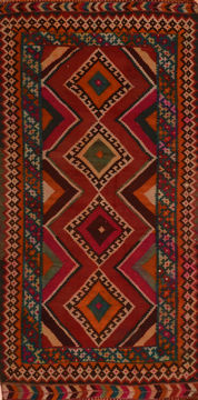 "Kilim Red Runner Flat Woven 4'3"" X 9'2""  Area Rug 100-110377"