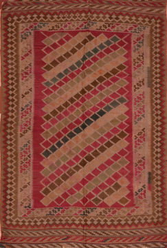"Kilim Red Flat Woven 4'5"" X 7'5""  Area Rug 100-110380"