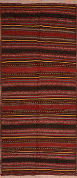 "Kilim Red Runner Flat Woven 4'7"" X 10'0""  Area Rug 100-110381"