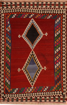 "Kilim Red Flat Woven 5'4"" X 8'1""  Area Rug 100-110417"