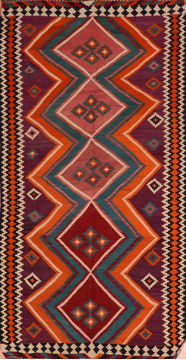 "Kilim Red Runner Flat Woven 5'2"" X 9'11""  Area Rug 100-110418"