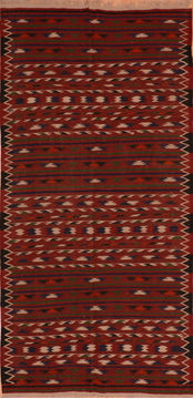 "Kilim Red Runner Flat Woven 4'6"" X 9'6""  Area Rug 100-110475"