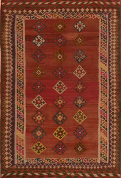 Afghan Kilim Red Rectangle 5x7 ft Wool Carpet 110483