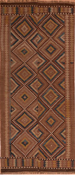 Afghan Kilim Brown Runner 10 to 12 ft Wool Carpet 110493