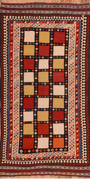 "Kilim Red Flat Woven 4'7"" X 9'2""  Area Rug 100-110500"