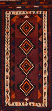 "Kilim Red Runner Flat Woven 4'7"" X 10'0""  Area Rug 100-110503"
