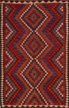 Afghan Kilim Red Rectangle 5x7 ft Wool Carpet 110513