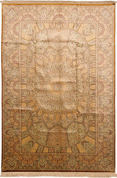 "Qom Yellow Hand Knotted 6'7"" X 9'7""  Area Rug 254-110514"