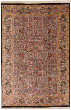 "Qum Yellow Hand Knotted 6'6"" X 9'10""  Area Rug 254-110516"