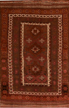 Afghan Kilim Red Rectangle 5x7 ft Wool Carpet 110517