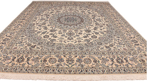 Persian Nain White Rectangle 8x10 Ft Silk Carpet 110518 Sku 110518