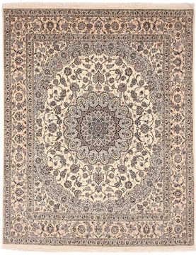 "Nain White Hand Knotted 8'4"" X 10'4""  Area Rug 254-110518"