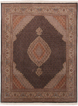 Persian Mahi Beige Square 7 to 8 ft Wool and Silk Carpet 110545