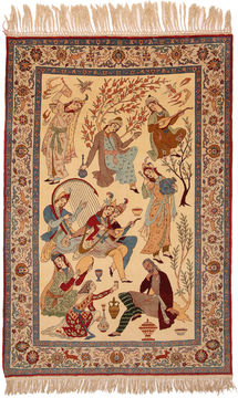 "Isfahan Beige Hand Knotted 4'9"" X 7'1""  Area Rug 254-110553"