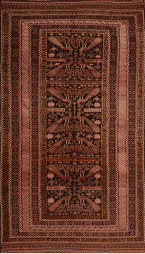 "Kilim Brown Runner Flat Woven 5'4"" X 9'7""  Area Rug 100-110583"