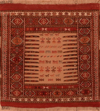 "Kilim Red Square Flat Woven 3'7"" X 3'7""  Area Rug 100-110599"