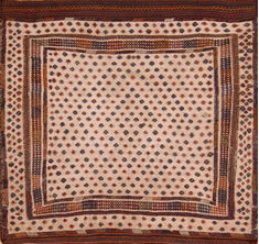 "Kilim Brown Square Flat Woven 4'3"" X 4'4""  Area Rug 100-110617"