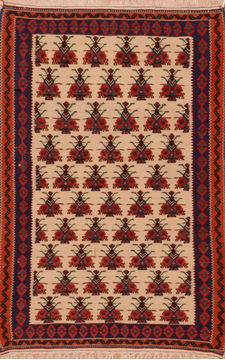 "Kilim Red Flat Woven 3'0"" X 4'9""  Area Rug 100-110635"