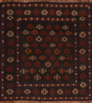Afghan Kilim Blue Square 4 ft and Smaller Wool Carpet 110646