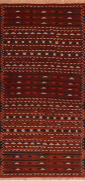 "Kilim Red Runner Flat Woven 4'7"" X 9'6""  Area Rug 100-110656"