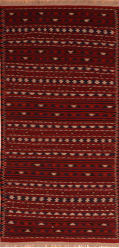 "Kilim Red Runner Flat Woven 4'6"" X 9'8""  Area Rug 100-110658"